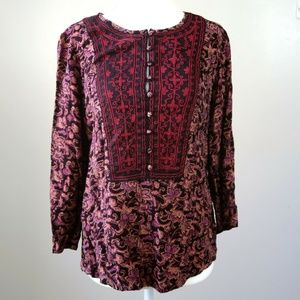 Lucky Brand Embroidered Peasant Blouse Size S